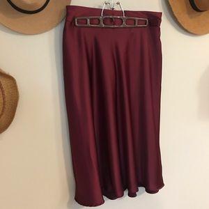 Cranberry Satin Skirt